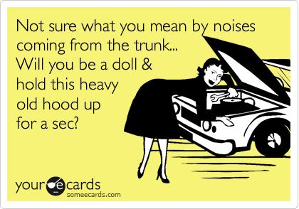 Not sure what you mean by noises coming from the trunk... Will you be a doll & hold this heavy old hood up for a sec?