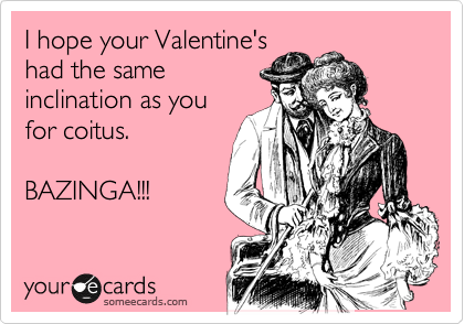 I hope your Valentine's had the same inclination as you for coitus.  BAZINGA!!!