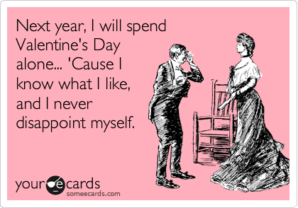 Next year, I will spend Valentine's Day alone... 'Cause I know what I like, and I never disappoint myself.