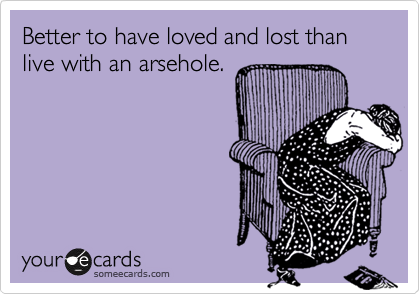 Better to have loved and lost than live with an arsehole.