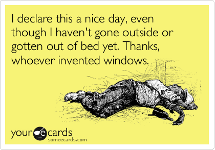 I declare this a nice day, even though I haven't gone outside or gotten out of bed yet. Thanks, whoever invented windows.