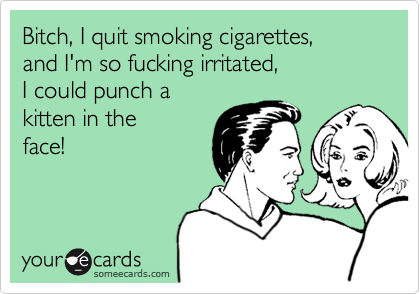 Bitch, I quit smoking cigarettes, and I'm so fucking irritated, I could punch a kitten in the  face!