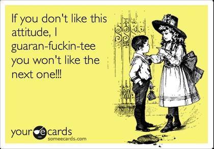 If you don't like this attitude, I guaran-fuckin-tee you won't like the next one!!!