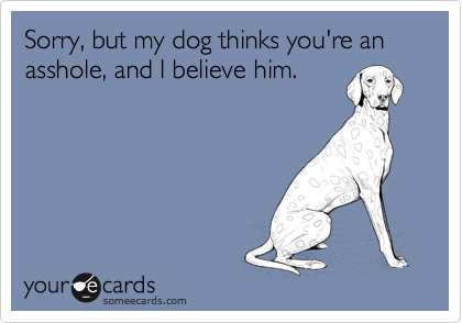 Sorry, but my dog thinks you're an asshole, and I believe him.