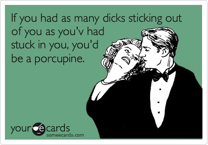 If you had as many dicks sticking out of you as you'v had stuck in you, you'd be a porcupine.