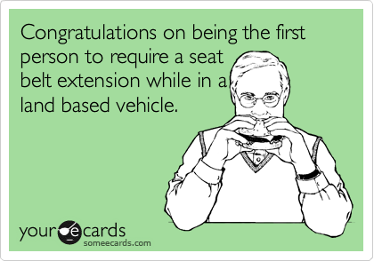 Congratulations on being the first person to require a seat belt extension while in a land based vehicle.