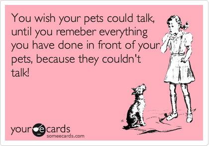 You wish your pets could talk, until you remeber everything you have done in front of your pets, because they couldn't talk!