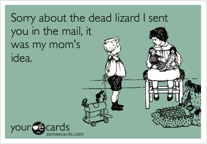 Sorry about the dead lizard I sent  you in the mail, it was my mom's  idea.