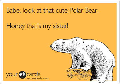 Babe, look at that cute Polar Bear.  Honey that's my sister!