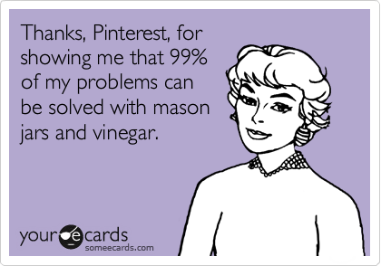 Thanks, Pinterest, for showing me that 99% of my problems can be solved with mason jars and vinegar.