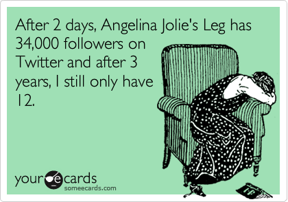 After 2 days, Angelina Jolie's Leg has 34,000 followers on Twitter and after 3 years, I still only have 12.
