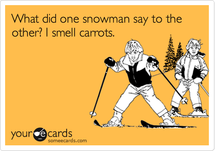 What did one snowman say to the other? I smell carrots.
