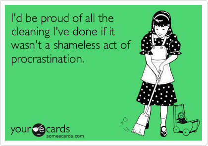 I'd be proud of all the cleaning I've done if it wasn't a shameless act of procrastination.