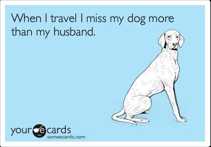 When I travel I miss my dog more than my husband.