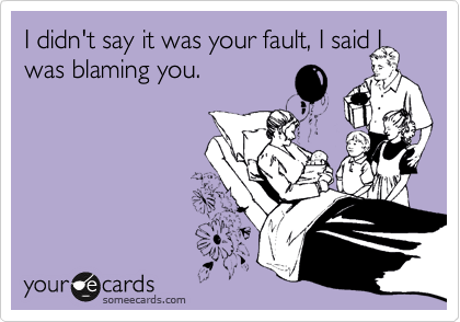 I didn't say it was your fault, I said I was blaming you.
