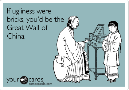 If ugliness were bricks, you'd be the Great Wall of China.