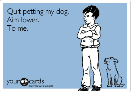 Quit petting my dog. Aim lower.  To me.