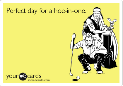 Perfect day for a hoe-in-one.