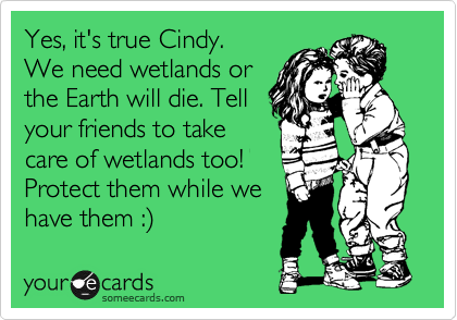 Yes, it's true Cindy.  We need wetlands or the Earth will die. Tell your friends to take care of wetlands too!  Protect them while we have them :%29