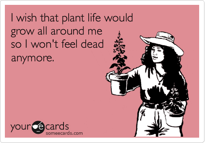 I wish that plant life would  grow all around me  so I won't feel dead anymore.