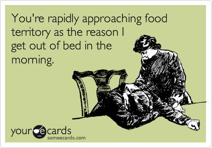 You're rapidly approaching food territory as the reason I get out of bed in the morning.
