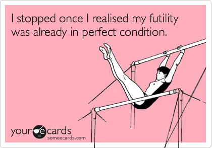 I stopped once I realised my futility was already in perfect condition.
