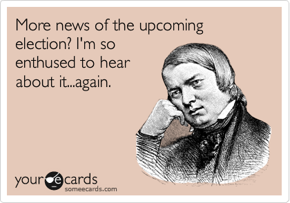 More news of the upcoming election? I'm so enthused to hear about it...again.