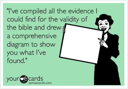 """""""I've compiled all the evidence I could find for the validity of  the bible and drew a comprehensive diagram to show you what I've found."""""""