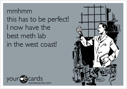 mmhmm this has to be perfect! I now have the  best meth lab in the west coast!