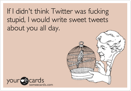 If I didn't think Twitter was fucking stupid, I would write sweet tweets about you all day.