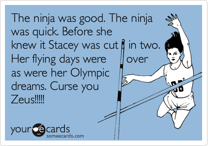 The ninja was good. The ninja was quick. Before she knew it Stacey was cut   in two. Her flying days were      over as were her Olympic dreams. Curse you  Zeus!!!!!