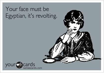 Your face must be Egyptian, it's revolting.