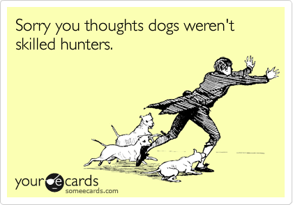 Sorry you thoughts dogs weren't skilled hunters.