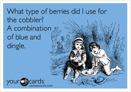 What type of berries did I use for the cobbler?  A combination  of blue and  dingle.