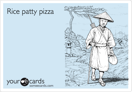 Rice patty pizza