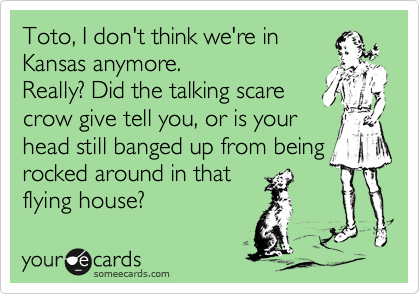 Toto, I don't think we're in Kansas anymore. Really? Did the talking scare crow give tell you, or is your head still banged up from being rocked around in that flying house?