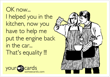 OK now... I helped you in the kitchen, now you have to help me put the engine back in the car... That's equality !!!
