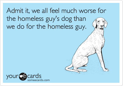 Admit it, we all feel much worse for the homeless guy's dog than we do for the homeless guy.