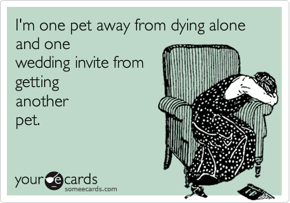 I'm one pet away from dying alone and one wedding invite from getting another pet.