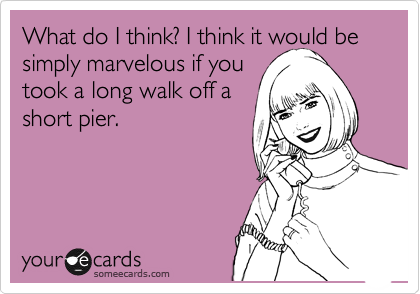 What do I think? I think it would be  simply marvelous if you took a long walk off a short pier.