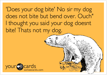 """'Does your dog bite' No sir my dog does not bite but bend over. Ouch"""" I thought you said your dog doesnt bite! Thats not my dog."""
