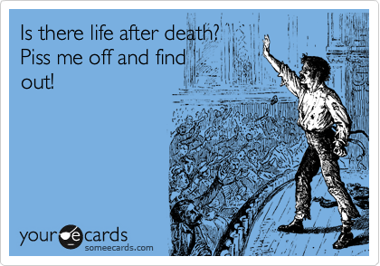Is there life after death? Piss me off and find out!