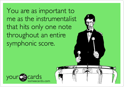 You are as important to me as the instrumentalist that hits only one note throughout an entire symphonic score.