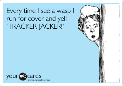 """Every time I see a wasp I run for cover and yell """"TRACKER JACKER!"""""""
