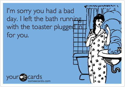 I'm sorry you had a bad day. I left the bath running with the toaster plugged in for you.