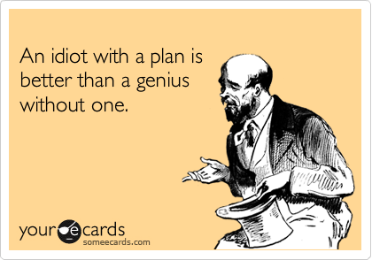 An idiot with a plan is  better than a genius  without one.