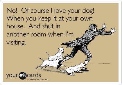 No!  Of course I love your dog!  When you keep it at your own house.  And shut in another room when I'm visiting.