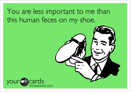 You are less important to me than this human feces on my shoe.