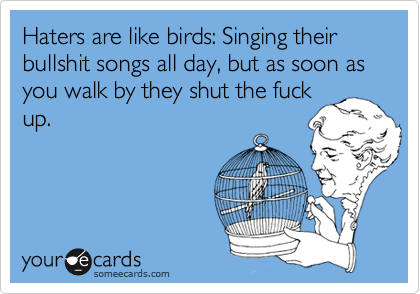 Haters are like birds: Singing their bullshit songs all day, but as soon as you walk by they shut the fuck up.