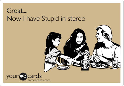 Great.... Now I have Stupid in stereo